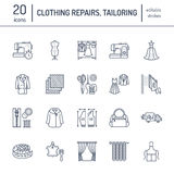 Clothing repair, alterations flat line icons set. Tailor store services - dressmaking, clothes steaming, curtains sewing Royalty Free Stock Images