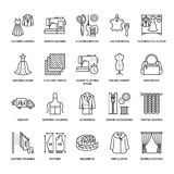 Clothing repair, alterations flat line icons set. Tailor store services - dressmaking, clothes steaming, curtains sewing Stock Images