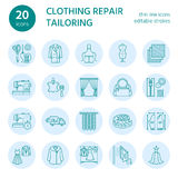 Clothing repair, alterations flat line icons set. Tailor store services - dressmaking, clothes steaming, curtains sewing Stock Photos