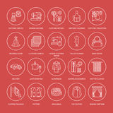 Clothing repair, alterations flat line icons set. Tailor store services - dressmaking, clothes steaming, curtains sewing Royalty Free Stock Photos