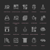 Clothing repair, alterations flat line icons set. Tailor store services - dressmaking, clothes steaming, curtains sewing Royalty Free Stock Image