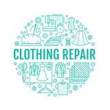 Clothing repair, alterations studio equipment banner illustration.. Clothing repair, alterations studio equipment banner illustration. Vector line icon of Royalty Free Stock Photo
