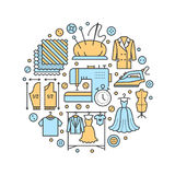 Clothing repair, alterations studio equipment banner illustration. Vector line icon of tailor store services -. Dressmaking, clothes steaming, suit dress Stock Images