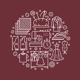 Clothing repair, alterations studio equipment banner illustration. Vector line icon of tailor store services -. Dressmaking, clothes steaming, suit dress Royalty Free Stock Image