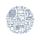 Clothing repair, alterations studio equipment banner illustration. Vector line icon of tailor store services -. Dressmaking, clothes steaming, suit dress Stock Photo