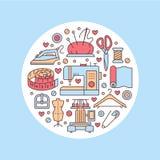Clothing repair, alterations studio equipment banner illustration.. Clothing repair, alterations studio equipment banner illustration. Vector line icon tailor Stock Image