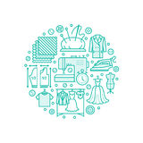 Clothing repair, alterations studio equipment banner illustration. Vector line icon of tailor store services -. Dressmaking, clothes steaming, suit dress Royalty Free Stock Images