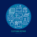 Clothing repair, alterations studio equipment banner illustration. Vector line icon of tailor store services -. Dressmaking, clothes steaming, suit dress Royalty Free Stock Photos