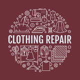 Clothing repair, alterations studio equipment banner illustration. Vector line icon of tailor store services -. Dressmaking, dress, garment sewing. Clothes Stock Image