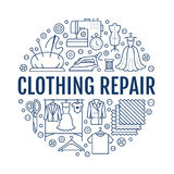 Clothing repair, alterations studio equipment banner illustration. Vector line icon of tailor store services -. Dressmaking, dress, garment sewing. Clothes Royalty Free Stock Images