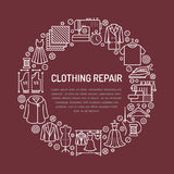 Clothing repair, alterations studio equipment banner illustration. Vector line icon of tailor store services -. Dressmaking, suit, garment sewing. Clothes Royalty Free Stock Images