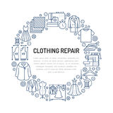 Clothing repair, alterations studio equipment banner illustration. Vector line icon of tailor store services -. Dressmaking, suit, garment sewing. Clothes Stock Photos
