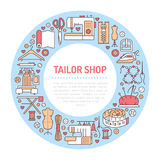 Clothing repair, alterations studio equipment banner illustration.. Vector line icon of tailor store services - dressmaking, suit, garment sewing. Clothes Royalty Free Stock Image