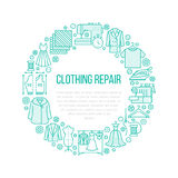 Clothing repair, alterations studio equipment banner illustration. Vector line icon of tailor store services. Dressmaking, suit, garment sewing. Clothes Stock Image