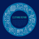 Clothing repair, alterations studio equipment banner illustration. Vector line icon of tailor store services -. Dressmaking, suit, garment sewing. Clothes Royalty Free Stock Photo