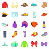 Clothing repair icons set, cartoon style. Clothing repair icons set. Cartoon set of 25 clothing repair vector icons for web isolated on white background Royalty Free Stock Photos