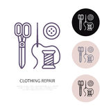 Clothing repair service line logo. Tailor store flat sign, illustration of scissors, needle and buttons. Hand made. Linear icon Royalty Free Stock Photo