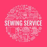 Clothing repair, sewing studio equipment banner illustration. Vector line icon of tailor store services - dressmaking. Dress, garment sewing. Clothes atelier Stock Photography