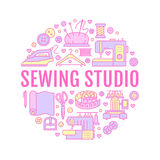 Clothing repair, sewing studio equipment banner illustration. Vector line icon of tailor store services - dressmaking. Dress, garment sewing. Clothes atelier Stock Images