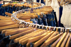 Clothing and retail store-view of shop with jeans.tif Stock Image