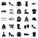 Clothing sale icons set, simple style Stock Photos
