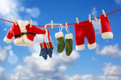 Clothing Santa's on the rope. Stock Images