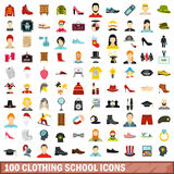 100 clothing school icons set, flat style. 100 clothing school icons set in flat style for any design vector illustration stock illustration