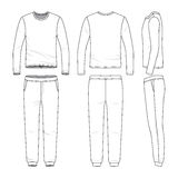 Clothing set of long sleeved shirt and sweatpants. Front, back and side views of lon sleeved shirt and sweatpants. Blank  templates. Clothing set. Sportswear Stock Photos