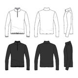 Clothing set of long sleeved t-shirt with zipper. Front, back and side views of long sleeved t-shirt with zipper. Clothing set in white and black colors. Blank Stock Photography