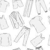 Clothing set seamless pattern sketch. Men's clothes, hand-drawing style. Men's Clothing, background. Men's clothes Royalty Free Stock Photo