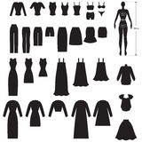 Clothing set. Set silhouette image of woman's clothing Stock Image