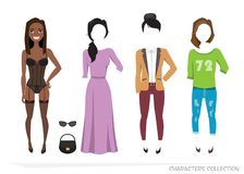 Clothing sets for black african american female. Constructor character. Clothing sets for black african american female. Constructor of the character. Creating Royalty Free Stock Photos