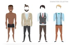 Clothing sets for black african american men. Constructor character. Clothing sets for black african american men. Constructor of the character. Creating a Royalty Free Stock Images