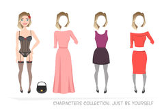 Clothing sets for female. Constructor character. Clothing sets for female. Constructor of the character. Creating a character style. Different types of attire Royalty Free Stock Images