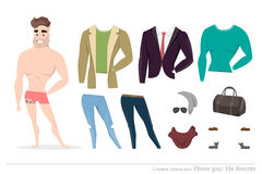 Clothing sets for men. Constructor character. Clothing sets for men. Constructor of the character. Creating a character style. Different types of attire for a Royalty Free Stock Photo