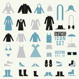 Clothing and shoes illustrations vector set. Shopping elements. Cute design vector icons. Clothing and shoes illustrations vector set. Shopping elements. Cute Stock Illustration