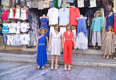 Clothing shops at Monastiraki Athens Greece Royalty Free Stock Photos