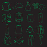 Clothing simple outline vector icons set eps10 Royalty Free Stock Photo
