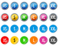Clothing Size Buttons and Stickers stock illustration