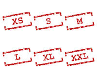 Clothing size stamps Royalty Free Stock Images