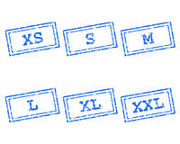 Clothing size stamps Royalty Free Stock Image