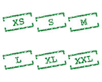 Clothing size stamps. Detailed and accurate illustration of clothing size stamps Stock Photos
