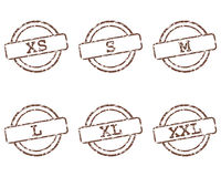 Clothing size stamps Royalty Free Stock Photos