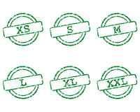 Clothing size stamps. Detailed and accurate illustration of clothing size stamps Royalty Free Stock Photos