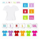 Clothing sizes. A variety of colorful clothing size symbols. Eps file available vector illustration