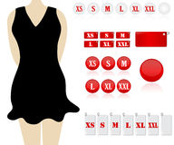 Clothing sizes. A collection of different clothing size labels for fashion stores royalty free illustration