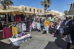 Clothing stalls at Marsaxlokk Market on Malta. Stock Photos