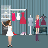 Clothing store boutique fashion woman shopping mall situation. Vector Stock Photos