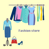 Clothing store Boutique indoor. Royalty Free Stock Image