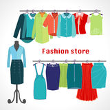 Clothing store. Boutique indoor Fashion store. Stock Images